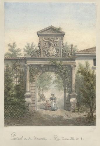 Le portail en 1878, dessin de Charles Tournier