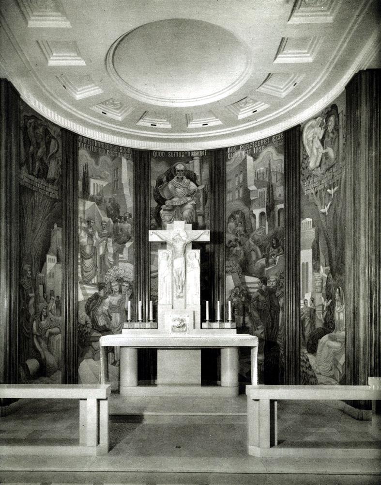 """Vue du choeur, photogr. par Florentin-Bourgade, publiée dans """"L'Oratoire des facultés catholiques"""", Lyon, 1940"""