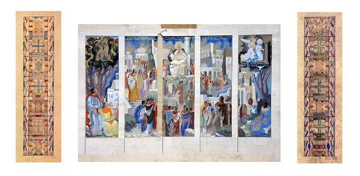 Jean Coquet : maquettes pour les vitraux et les peintures du choeur, 1940 ca