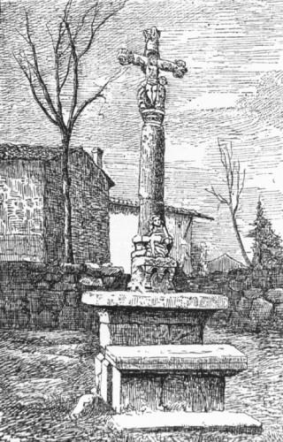Merle-Leignec (Loire). Lithographie d'après un dessin de P. Tardieu de la croix de cimetière