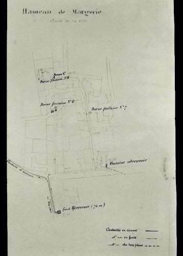 Colonzelle, hameau de Margerie. Plan du réseau hydraulique, par Durand, architecte, 1906.