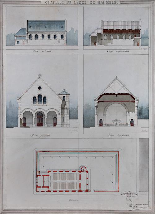 Fig. 4. Chapelle du lycée Champollion. Plan, coupes et élévations, par Emile Vaudremer, 29 mars 1883 (Arch. mun. Grenoble, 2 Fi 294).