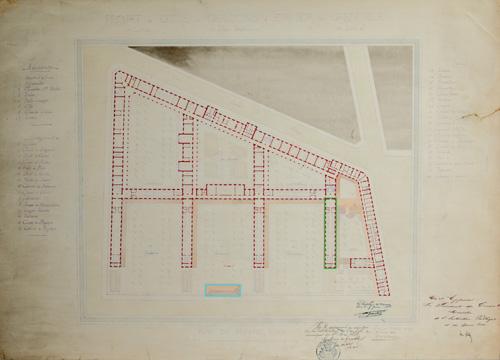 Plan du 1er étage, par Emile Vaudremer, 29 mars 1883, avec localisation des 2 projets d'installation d'une chapelle à l'intérieur de l'établissement