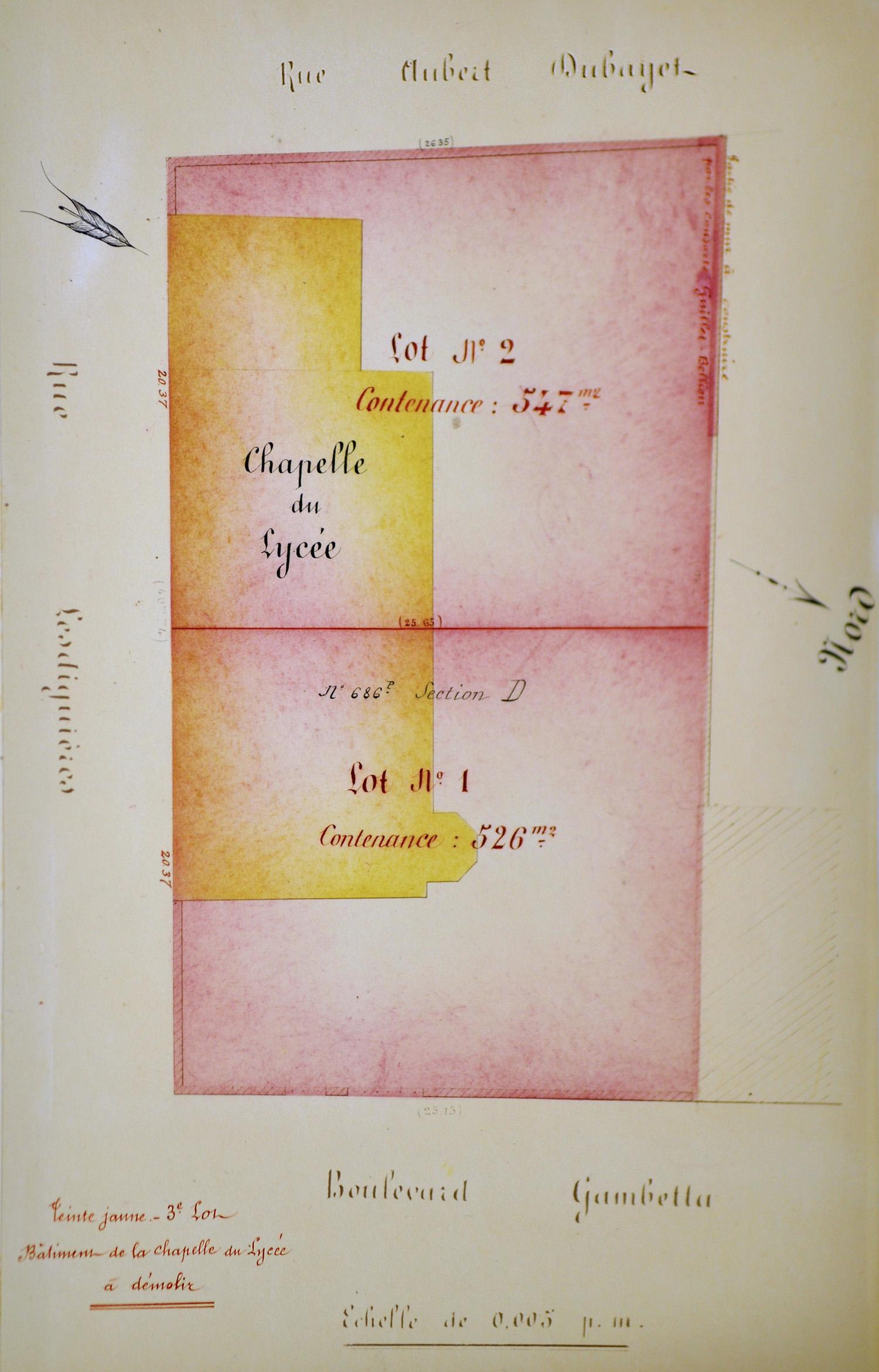 Chapelle du lycée. Plan de lotissement, 8 septembre 1909 (Arch. mun. Grenoble, 4 M 73