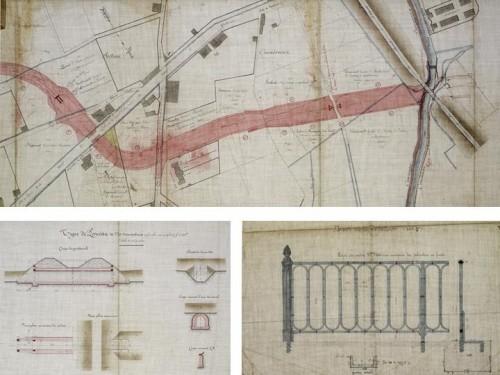 Tracé d'implantation du canal à cheval sur les communes de Savigneux et de Montbrison avec de gauche à droite : la chute de 4 m de l'usine Peyer (voir ci-dessous), la section enterrée sous le bourg de Savigneux (1885), un siphon, puis le pont-canal enjambant le Vizézy. Plans d'un ponceau (1887). Dessin d'une balustrade (1887).
