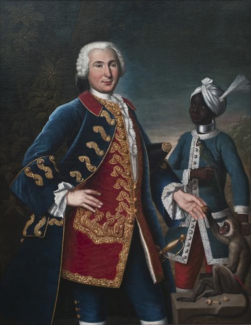 Portrait d'Antoine Barthélemy de Vire Duliron de Montivers, capitaine d'infanterie au service de la Compagnie des Indes (1750), par François-Dagobert Jouvenet (1688/1694-1756)