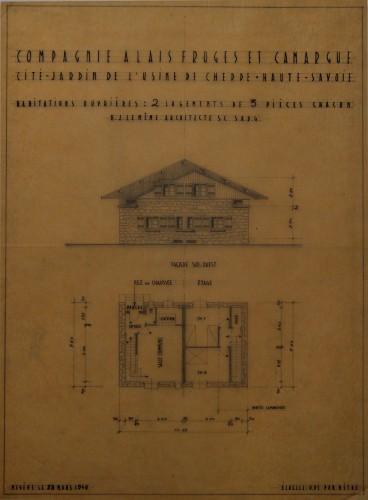Compagnie Alais Froges et Camargue. Cité jardin de l'usine de Chedde, Haute-Savoie