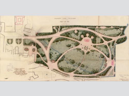 Dessin du parc thermal par Samuel Revel. 1869. © Archives départementales de la Savoie.