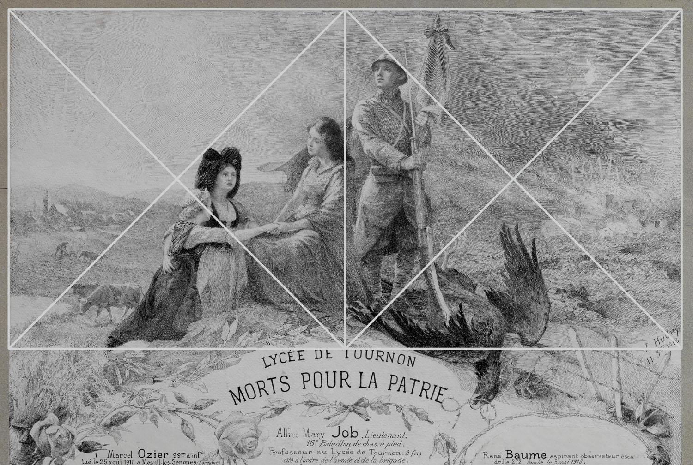 Ill. 4. Schéma de la composition, détail. Dess. A. Céréza © Région Rhône-Alpes, Inventaire général du patrimoine culturel, ADAGP, 2014