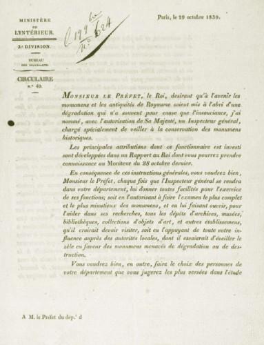 Circulaire de François Guizot, 29 octobre 1830 (Arch. Dép. Gironde 33 154 T 1)