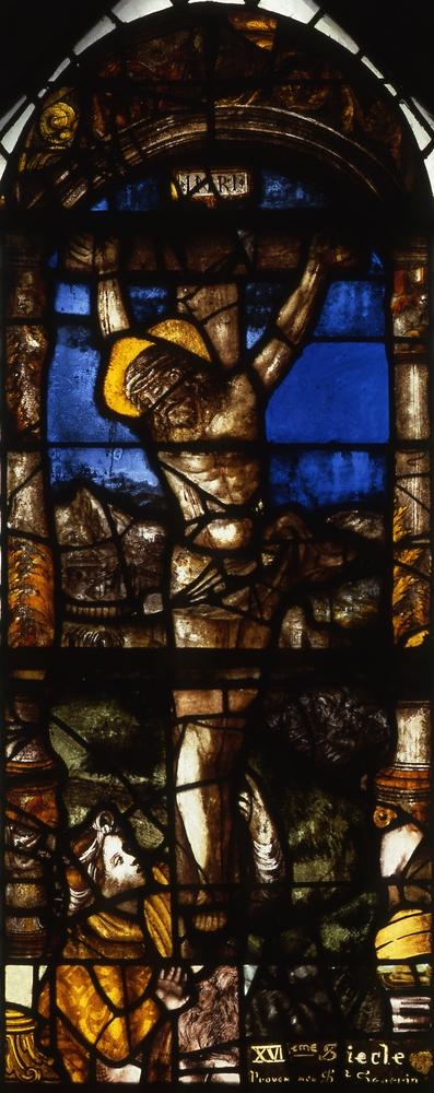 Baie 3 de l'église Saint-Joseph d'Annecy (Haute-Savoie) : Crucifixion avec sainte Madeleine. Bruno Cougnassout © Région Rhône-Alpes, Inventaire général du patrimoine culturel, 1984 - ADAGP