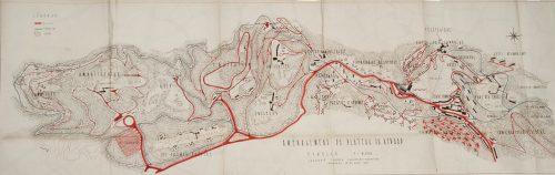 Projet d'aménagement du plateau Revard-Féclaz par Laurent Chappis, 1952 : zones sud et nord (Repro. Denys Harreau - 2016 © Archives municipales d'Aix-les-Bains)
