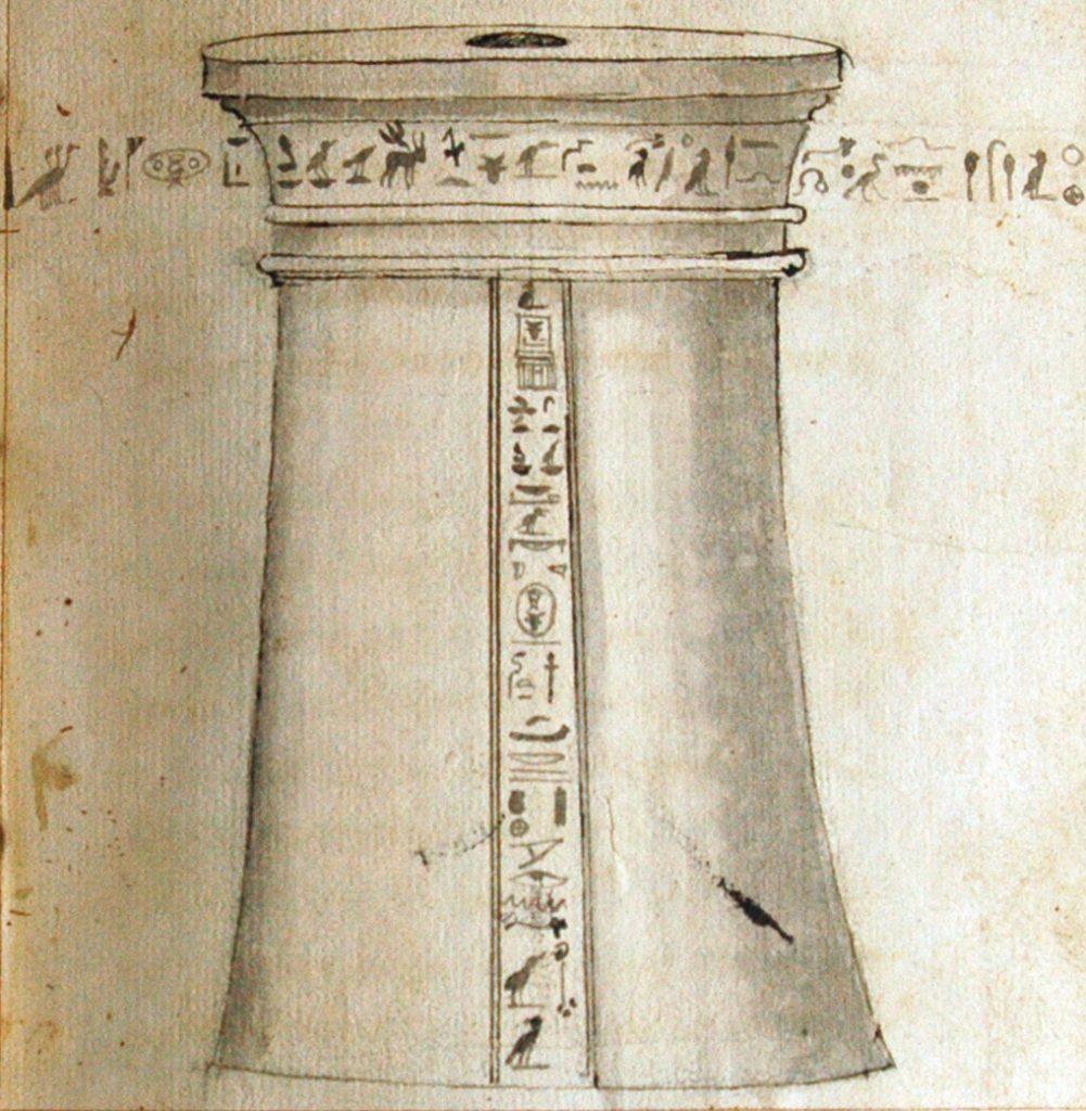Dessin d'un piédestal conservé sur l'Île Barbe, in G. Simeoni, L'Origine et le antichità di Lione, 1559