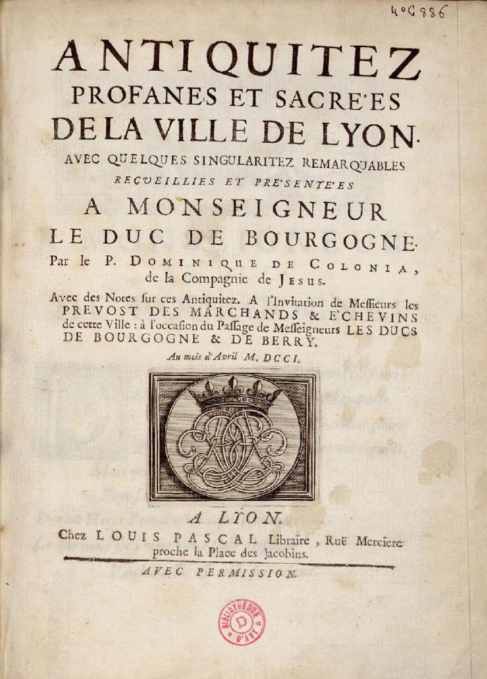Ill.4. Page de titre des Antiquités profanes et sacrées, 1701.
