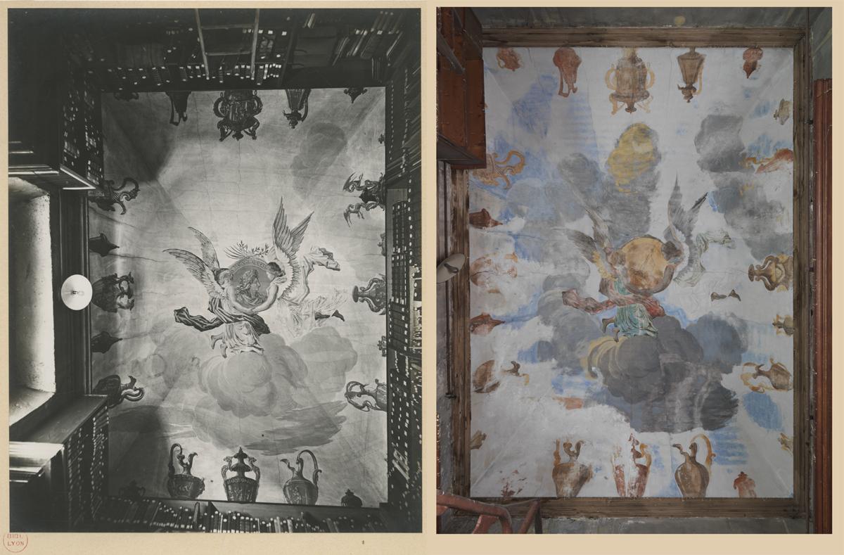 Ill. . Plafond : à gauche en 1911, à droite état actuel.