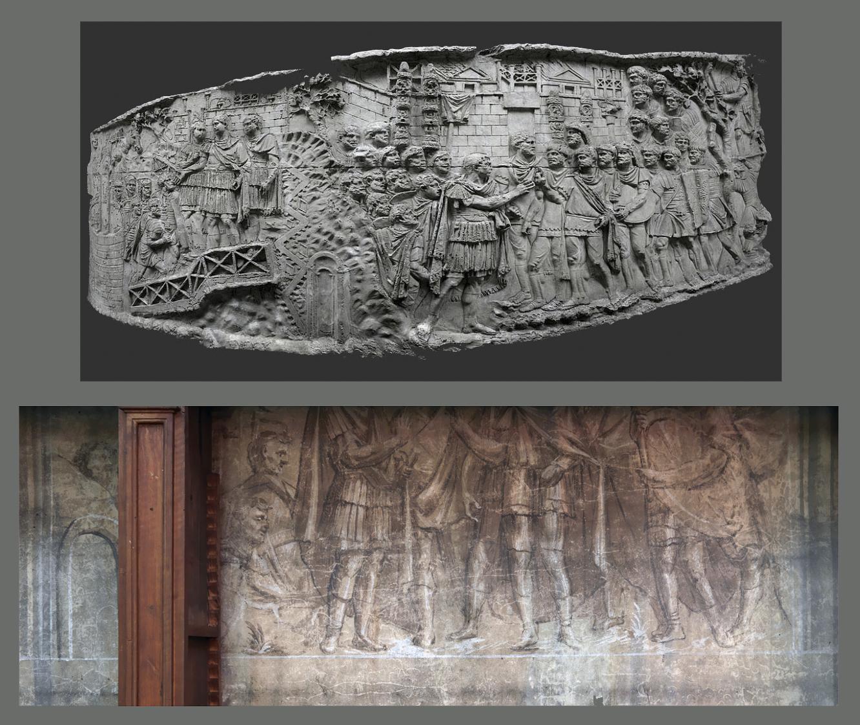 Ill. en haut : Colonne Trajane, scène LI. Phot. Cassius_Ahenobarbus ; en bas : bas-relief en trompe l'oeil, mur nord du médaillier. Phot. E. Dessert