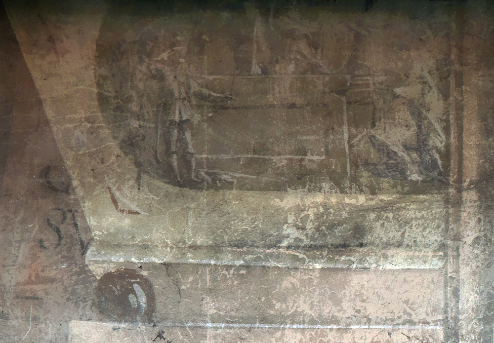 Ill. 16. Bas-relief peint en grisaille, mur nord.