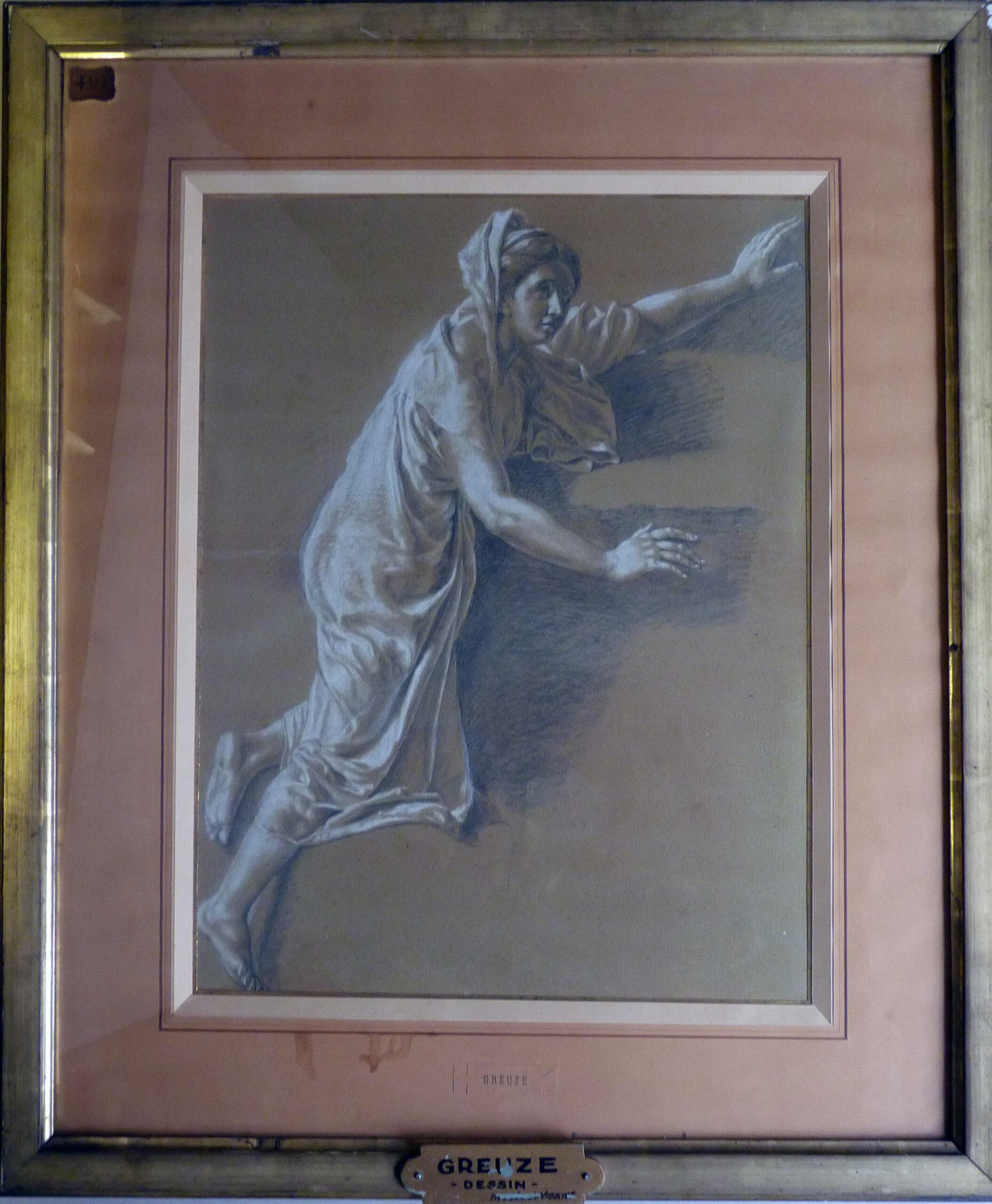 Jean-Baptiste Greuze (attribué à) (1725-1805). Femme antique, milieu XVIIIe s.