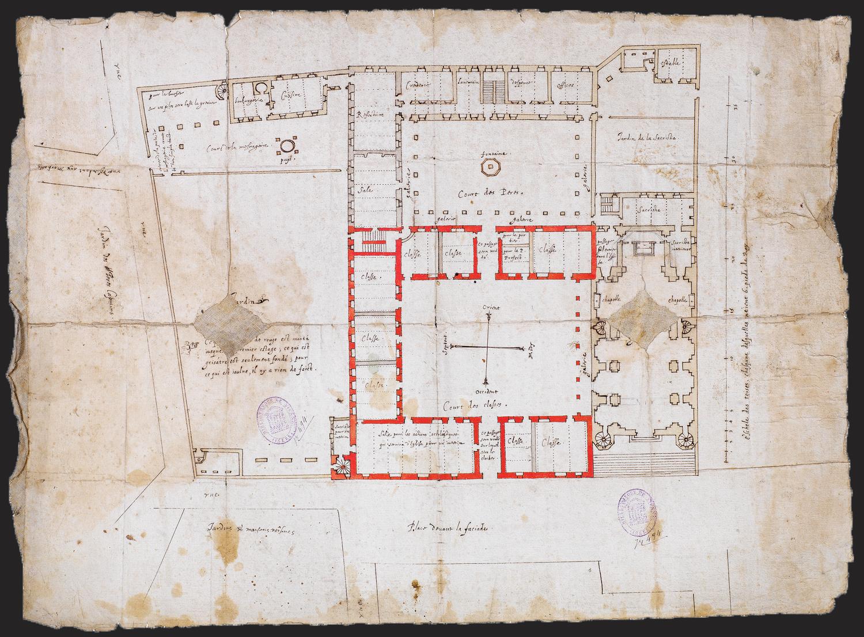 Fig. 6 : Plan du rez-de-chaussée, par Edmond Moreau, mars 1615 (Vienne, Musée des beaux-arts et d'archéologie, inv. R 494/717).