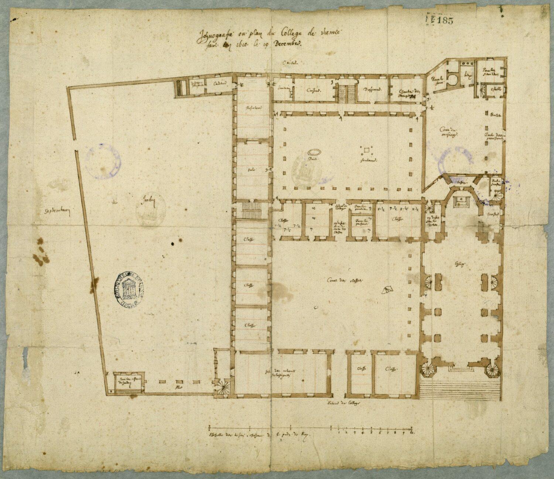 Fig. 4 : Plan du rez-de-chaussée, par Etienne Martellange, 19 décembre 1610 (Vienne, Médiathèque, M 11/102).