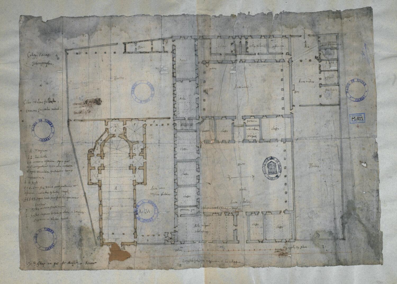 Fig. 7 : Plan d'ensemble de l'église et du collège, rez-de-chaussée, par Edmond Moreau (?), v. 1625 (Vienne, Médiathèque, M 211/4).